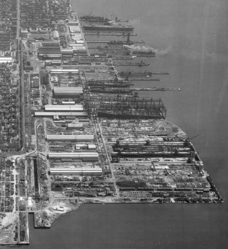 Newport News Shipyard, aerial view